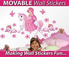 Princess on a Horse with Unicorns Wall Stickers - TOTALLY MOVABLE - Buy Now