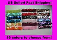 "12pc 1"" Sequin Stretch Headband Cheerleader Team Uniform Girl Dress Up Party NEW"