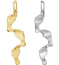"""0.925 Sterling Silver, 14k White or 14k Yellow Gold """"Footprints"""" Pendant Charm"""