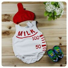 Baby Boy Girl Milk Bottle Fancy Costume Outfit Clothes+Hat Set Size 000 00 1