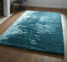 Very Soft Touch 100% Polyester Pile Teal Plain Retro Funky Rug