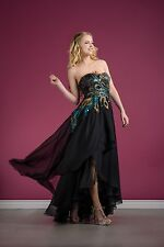 Designer Long Chiffon Peacock Inspired Formal Prom Dresses Black Tie Event Gown