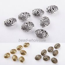 10Pcs Antique Tibetan Silver Oval Shaped Hollow Bracelet Spacer Bead Findings