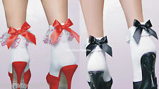 Sexy 50s White Opaque Frilly Ruffled Ankle Socks School Nurse Maid Hen Night