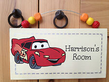 Lightning McQueen cars personalised childrens door wall sign plaque. FREE P & P