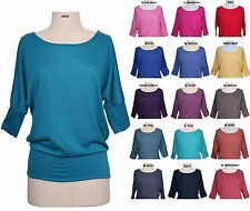 Women Boatneck Banded Batwing Dolman Sleeve Knit Top Slouchy Jersey Tee Shirt