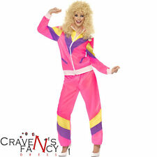 Ladie's Pink Shell Suit 80's Scouser Tracksuit Fancy Dress Costumes Add Wig 90's