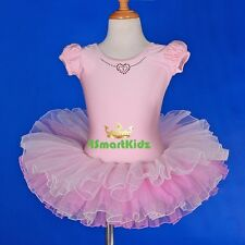 Girl Pink Ballet Tutu Ballerina Dance Costume Fancy Dress Up Kid Size 3-8 BA048