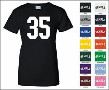 Number 35 Thirty Five Sports Number Woman's Jersey T-shirt Front Print