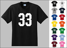 Number 33 Thirty Three Sports Number Youth Jersey T-shirt Front Print