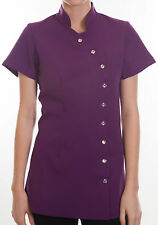 Salon Spa Beauty Beautician Hairdressers  Nails Massage Uniform Tunic Purple LMD