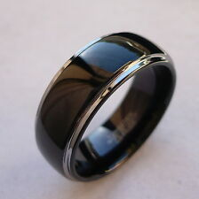 8mm TUNGSTEN CARBIDE DOMED BLACK IN THE MIDDLE MEN'S  WEDDING BAND RING SZ 5-15