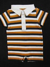 NWT Gymboree Friendly Lion Romper 0 3 6 12 18 m Orange Navy Stripe Rugby 1-Piece