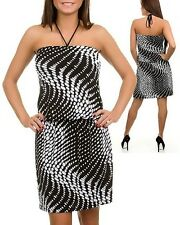 New Women's Black White Polka Dot Halter Strap Dress Shop Clothing Stores Online