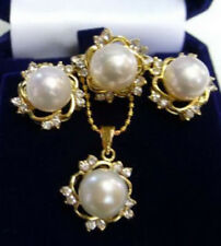 White South Sea Shell Pearl 18KGP Crystal Pendant Necklace Earrings Ring Set