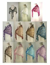 Lace Scarf Shawl Wrap Stole Metallic Shiny Print Triangle Sheer Womens 11 Colors