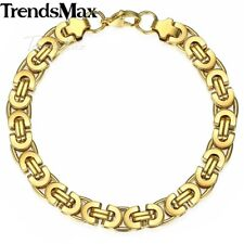 6/8/11mm Mens Chain Gold Tone Flat Byzantine Link Stainless Steel Bracelet Gifts