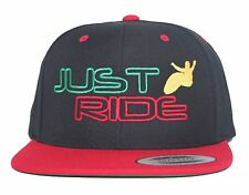 JUST RIDE RASTA WAKE SURF HAT FLAT BILL SNAPBACK SKATE BOARD FLEX FIT SURFER