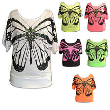 WOMENS LADIES SEXY EXCLUSIVE BUTTERFLY ART BATWING SEQUIN TSHIRT TOP 6 COLOURS