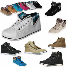 Damen Sneakers High Top Kunstleder Turnschuhe Neu zapatilla de deporte