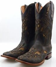 Resistol by Lucchese M4052 Mens Chocolate Brown Western Cowboy Boots With Inlay