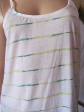 New HURLEY Womens Jrs White Striped Knit Featherweights Mesh Cami Top Shirt $29