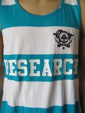 New LRG Mens Turquoise White Striped Knit Printed Elite Fleet Tank Top Shirt $32