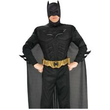 Licensed Dark Knight Adult Men's Black Batman Costume with Muscle Chest
