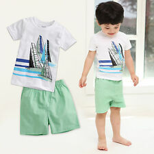 "2 Pcs Vaenait Baby Toddler Kids Boy Outfits Homewear T-Shirt+Shorts ""Surf Set"""
