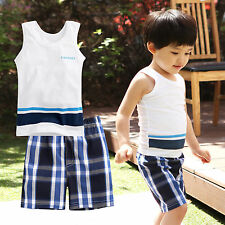 "2 pcs Vaenait Baby Toddler Kids Outfits Homewear Sleeveless Top+Shorts ""Simple"""