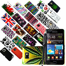 FOR SAMSUNG GALAXY S2 S II i9100 NEW PRINTED HARD SHELL CASE COVER + FREE STYLUS