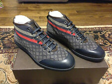 Gucci High Top Lace up Sneaker beige/blue nylon diamante fabric Navy Red Web NEW