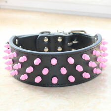 Pink Spikes&Studs Black Leather Dog Collar Pitbull Bully Terrier Pet Collar S-XL