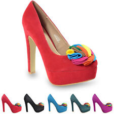 Women Platform Pointed High Heel Shoes With Flower UK SIZE 2-7