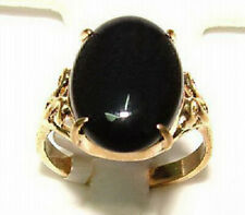 Black Agate Solitaire 18KGP Ring Size: 6.7.8.9