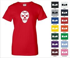 Sugar Skull Love Mustache Day of The Dead Halloween Goth Funny Woman's T-shirt