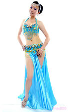New Belly Dance Costume 2 Pics Bra&Belt 34B/C 36B/C 38B/C 40B/C 12 colors