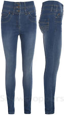 DENIM HIGH WAISTED JEANS Womens SKINNY Jeans Ladies BLUE WASH Size 8 10 12 14 16