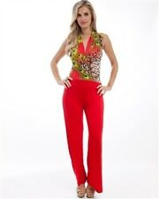 New Women's Sexy Red Peacock Sleeveless Jumpsuit with Belt Rompers Boutique Shop