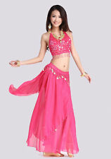 New Belly Dance Costume Handmade Flower Top Bra & Skirt with Coins 12 Colors