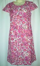 New Ex Boden Pink Dress 8 10 12 14 16 18 Linen Tunic Floral Smock Bow Buttons