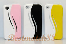 for iPhone 4 4s pink black yellow white case cover heart openig screen protector