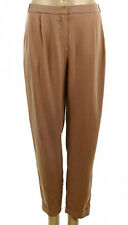 New Ladies Womens Nude Turn Up Hem Textured Fabric Formal Trousers Pants Size
