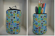 "Owls & More Owls Fabric Eyeglass Case Holder ""OR"" Fabric Pencil Holder nice Gift"