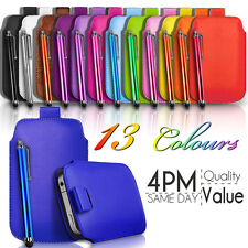 LEATHER PULL TAB SKIN CASE COVER POUCH AND STYLUS PEN FITS VARIOUS HUAWEI PHONES
