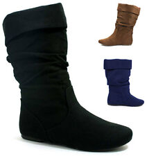 Womens Slouchy Boots Faux-Suede Slip-on Cuff Black Brown Soda Shoes Image-S
