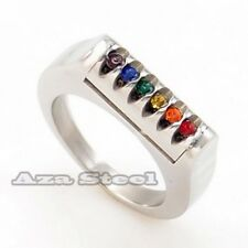 Rainbow CZs Gay Lesbian LGBT Pride Stainless Steel Ring Size 9,10,11,12,13