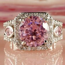 Fashion Pink & White Topaz Gemstone Silver Jewelry Women's Ring Size 7 8 9 10