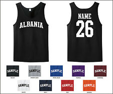 Country of Albania Custom Personalized Name & Number Tank Top Jersey T-shirt