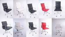 Charles Eames Office Chair Ribbed, Soft Pad, Low Back, High back Italian Leather